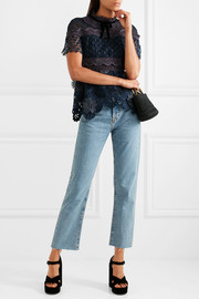 Velvet-trimmed paneled guipure lace peplum top