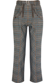 Lexi ruffled Prince of Wales checked woven straight-leg pants
