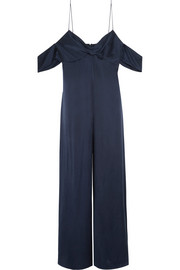 Zimmermann Cold-shoulder washed-silk jumpsuit