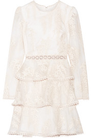 Zimmermann Maples embroidered crocheted lace-trimmed silk-organza mini dress