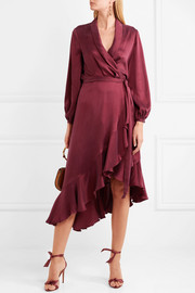 Asymmetric washed-silk wrap midi dress