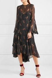 Folly floral-print Swiss-dot chiffon midi dress