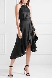 Flounce Picnic asymmetric ruffled washed-silk dress