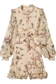 Zimmermann Maples ruffled printed crinkled silk-georgette playsuit