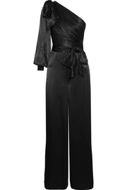 One-shoulder bow-embellished satin jumpsuit