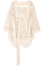 Zimmermann Maples crochet-trimmed embroidered silk-organza mini dress