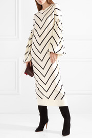 Zimmermann Maples Louche chevron wool and cashmere-blend midi dress