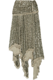 Zimmermann Folly asymmetric sequined chiffon midi skirt