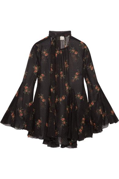 Big Discount For Sale Folly Floral-print Swiss-dot Silk-blend Chiffon Blouse - Black Zimmermann Release Dates Cheap Online U8fRkYH5