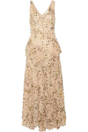 Zimmermann Maples Whisper appliquéd printed silk-georgette midi dress