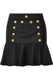 Morrison ruffled embellished twill mini skirt