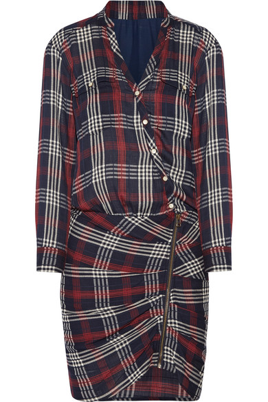 Emory Ruched Plaid Cotton-blend Crepe Mini Dress - Midnight blue Veronica Beard Extremely Cheap Sale Perfect z9wEAB