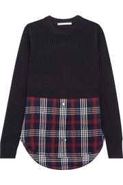 Garrett ribbed merino wool and checked cotton-blend gauze sweater