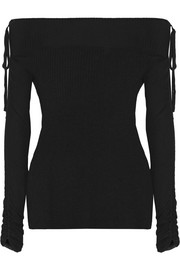 Nolan Ballet off-the-shoulder ribbed merino wool sweater