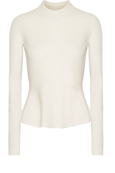 Veronica Beard - Raleigh Pointelle-trimmed Cashmere Peplum Sweater - Ecru