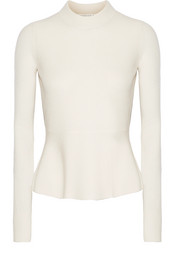 Raleigh pointelle-trimmed cashmere peplum sweater