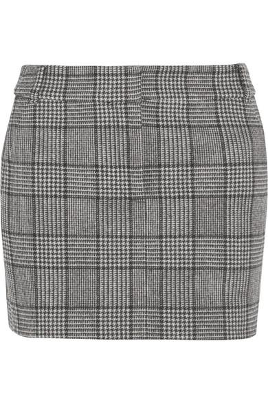 Tibi - Aldridge Checked Wool-blend Tweed Mini Skirt - Black