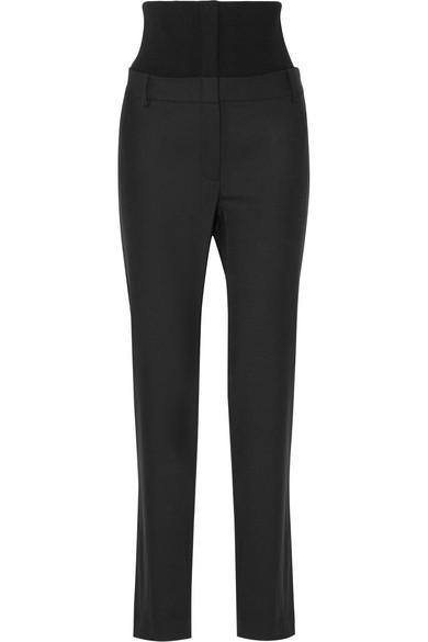 Ribbed Stretch Wool-paneled Crepe Straight-leg Pants - Black Tibi uOzbqW