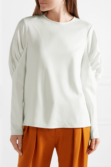 Florence Gathered Twill Top - Ivory Tibi Cheap Sale Pictures Factory Outlet Cheap Online Cheap Latest Collections Sale With Paypal Sale Online 0HtpyA