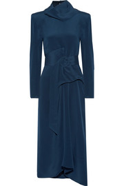 Tess convertible belted silk-crepe midi dress
