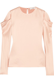 Tibi Draped hammered-satin top