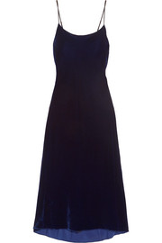 Tibi Silk-trimmed velvet midi dress