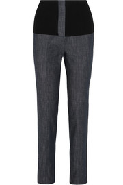 Camille ribbed jersey-trimmed high-rise straight-leg jeans