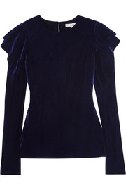 Tibi Draped velvet top