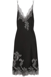 Carine Gilson Embroidered Chantilly lace-trimmed silk-satin chemise