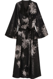 Metallic silk-blend jacquard robe
