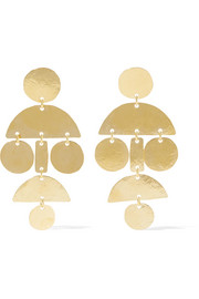 Mini Pom Pom hammered gold-plated earrings