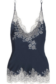 Carine Gilson Chantilly lace-trimmed silk-satin camisole