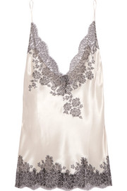 Carine Gilson Chantilly lace-trimmed silk-blend satin camisole