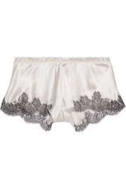 Chantilly lace-trimmed silk-blend satin shorts