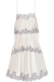 Carine Gilson Chantilly lace-trimmed silk-blend satin chemise
