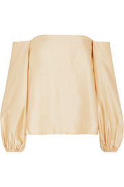 Elizabeth and James Nolita off-the-shoulder satin top