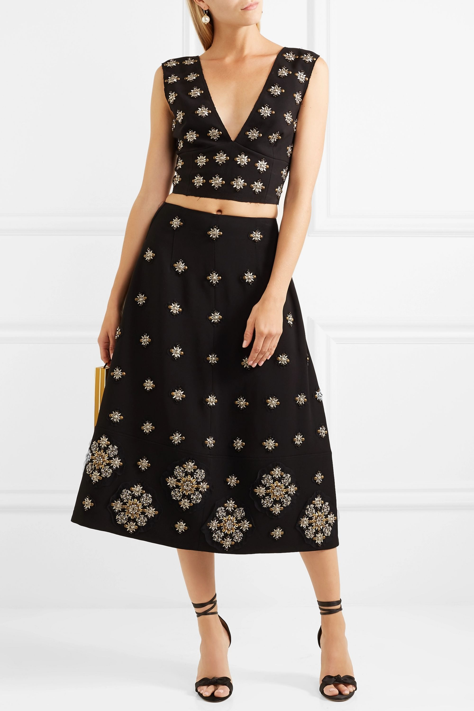 Elizabeth and James Lottie embellished crepe midi skirt