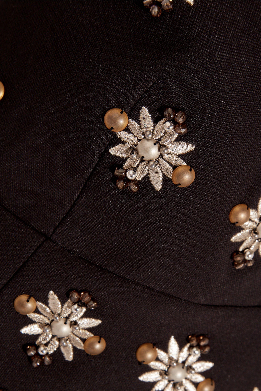 Elizabeth and James Leola cropped embellished stretch-crepe top