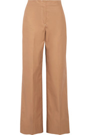 Maslin cotton-poplin wide-leg pants