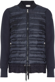 Quilted shell and French cotton-terry down jacket