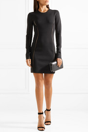 Pointelle-trimmed stretch-knit mini dress