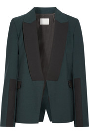 Asymmetric wool-trimmed stretch-crepe blazer