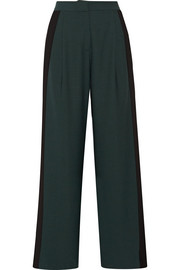 Striped stretch-crepe wide-leg pants