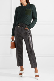 Suede-trimmed wool and cashmere-blend sweater