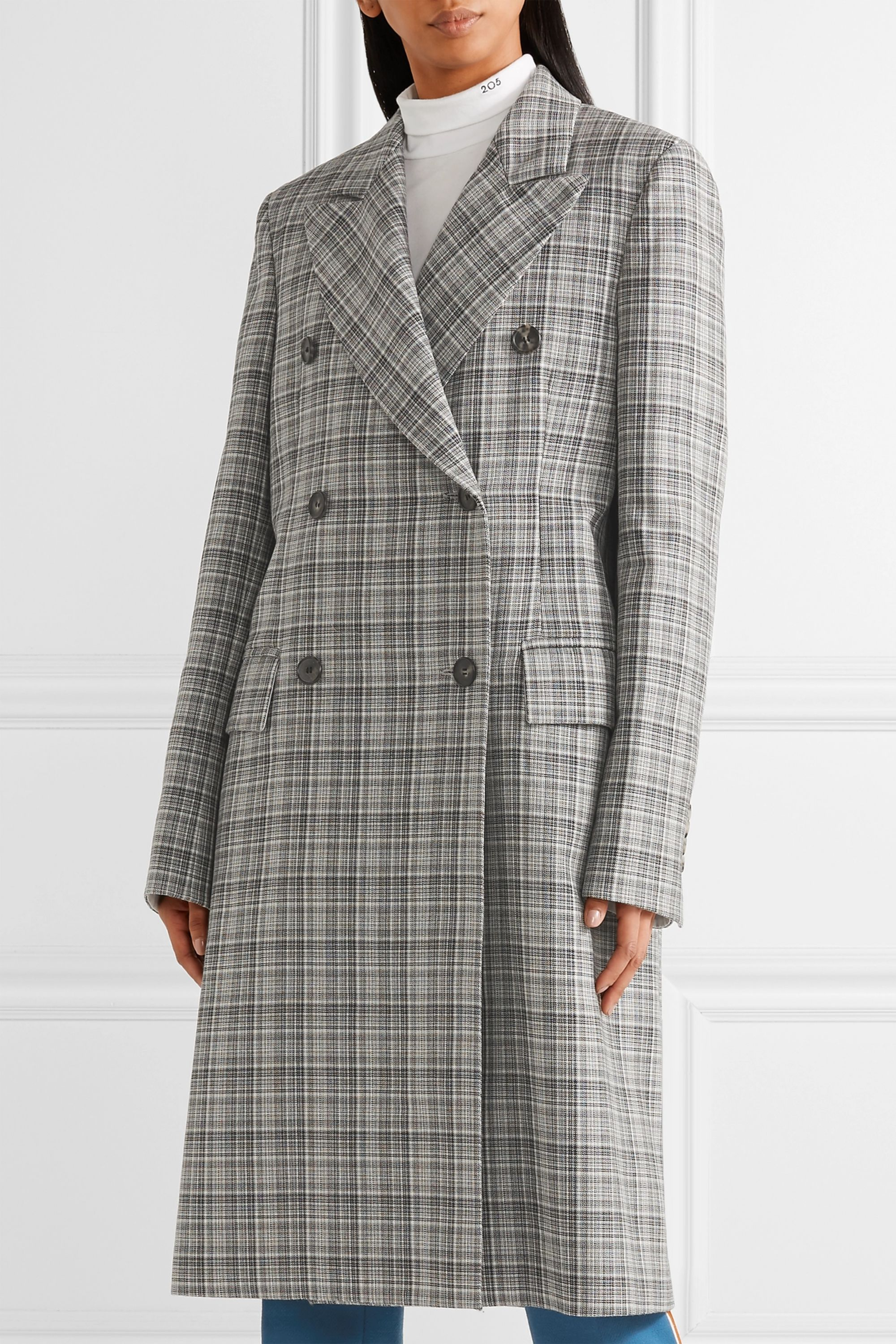 CALVIN KLEIN 205W39NYC Double-breasted layered PVC and plaid wool coat