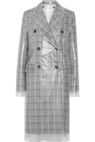CALVIN KLEIN 205W39NYC - Double-breasted Layered Pvc And Plaid Wool Coat - Gray