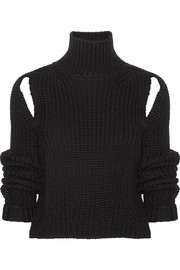 CALVIN KLEIN 205W39NYC Cropped cutout wool sweater