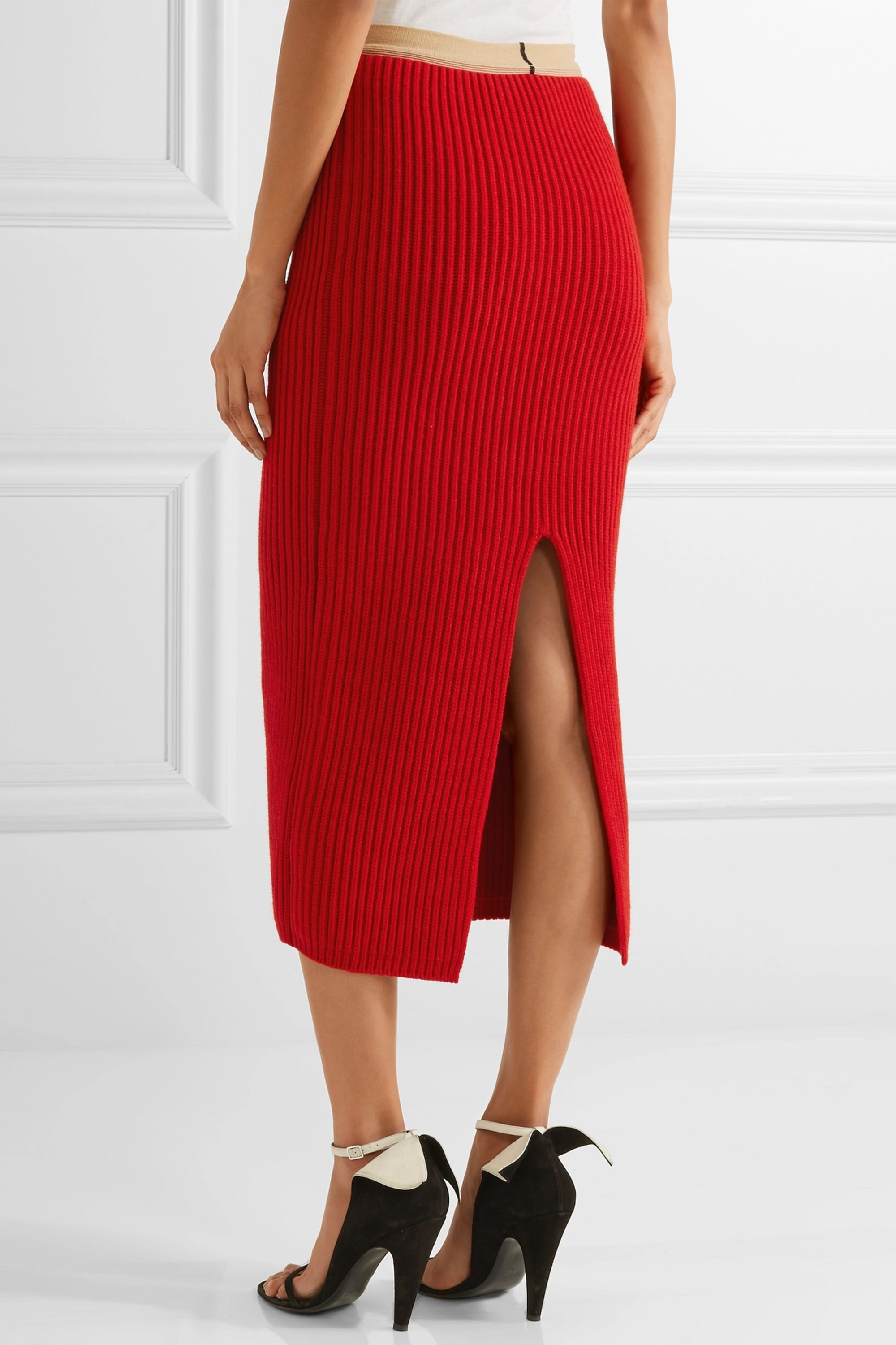 CALVIN KLEIN 205W39NYC Ribbed wool and cashmere-blend midi skirt