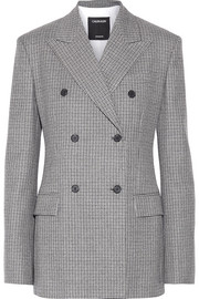 Double-breasted houndstooth wool blazer