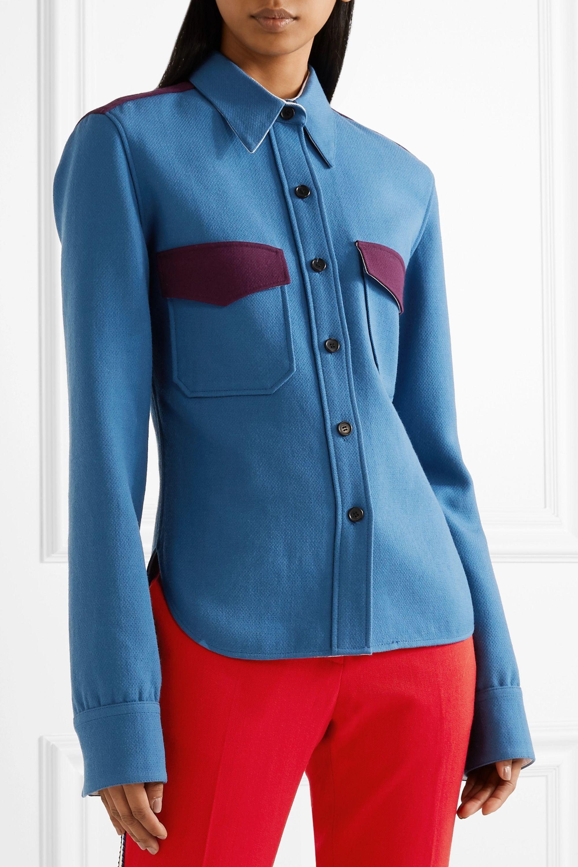CALVIN KLEIN 205W39NYC Two-tone wool-twill shirt